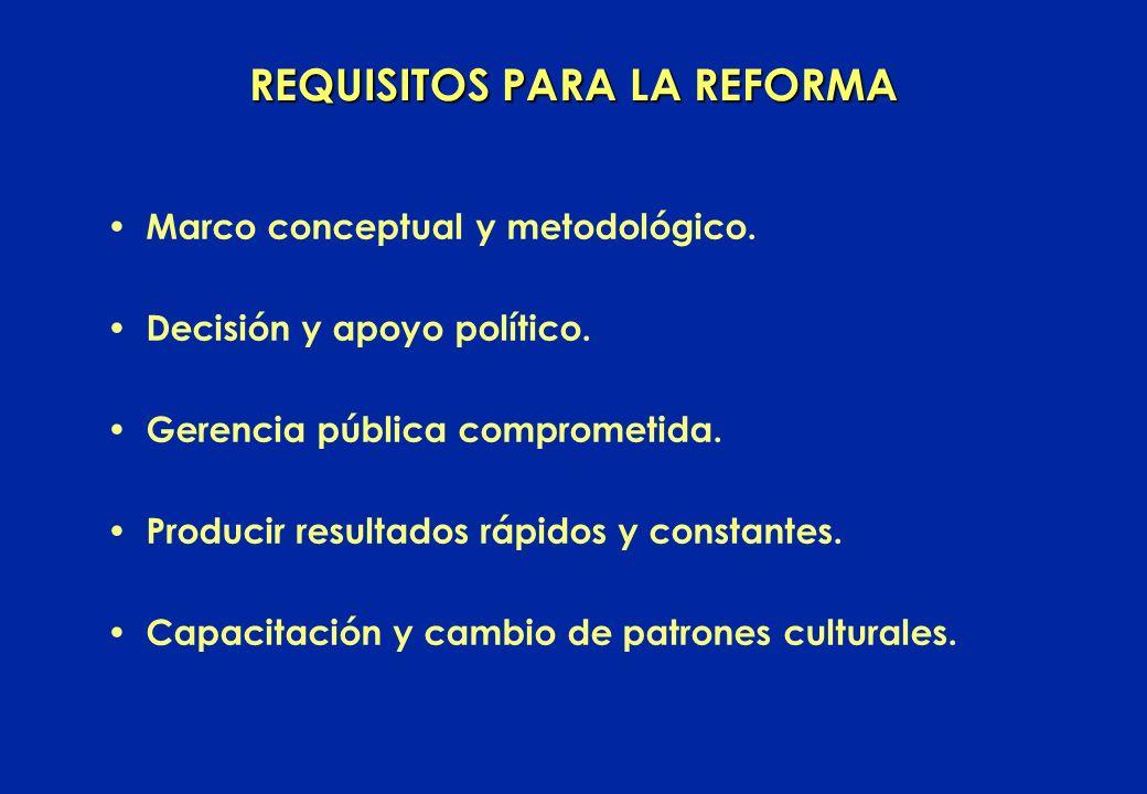 REQUISITOS PARA LA REFORMA Marco conceptual y metodológico.