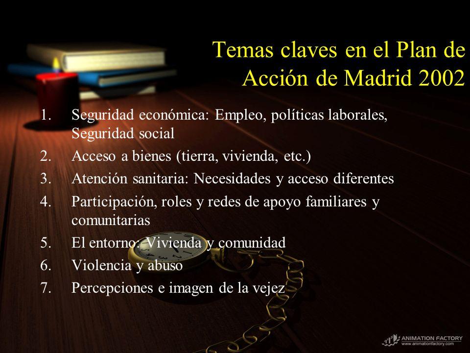 Temas claves en el Plan de Acción de Madrid 2002 1.Seguridad económica: Empleo, políticas laborales, Seguridad social 2.Acceso a bienes (tierra, vivie