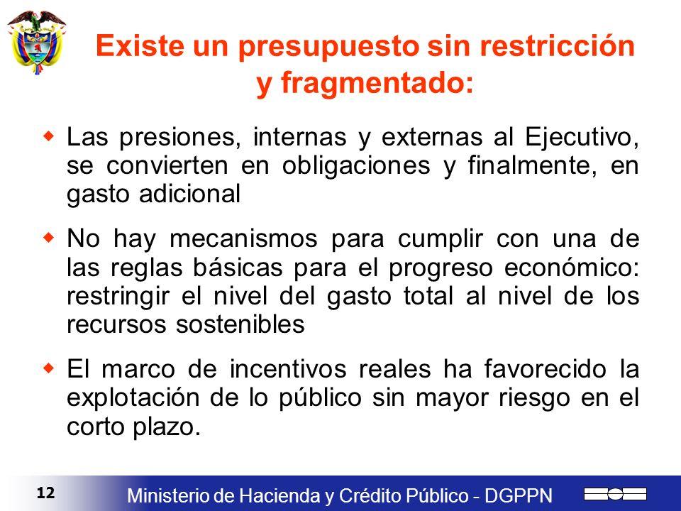 12 Ministerio de Hacienda y Crédito Público - DGPPN Existe un presupuesto sin restricción y fragmentado: Las presiones, internas y externas al Ejecuti