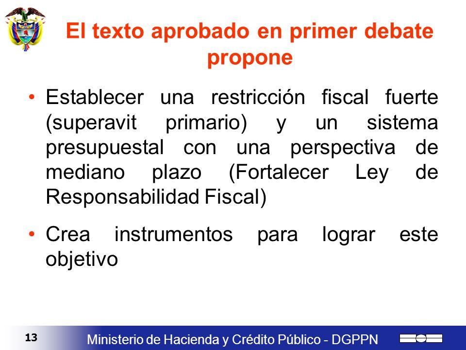 13 Ministerio de Hacienda y Crédito Público - DGPPN El texto aprobado en primer debate propone Establecer una restricción fiscal fuerte (superavit pri