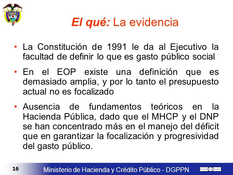 16 Ministerio de Hacienda y Crédito Público - DGPPN El qué: La evidencia La Constitución de 1991 le da al Ejecutivo la facultad de definir lo que es g
