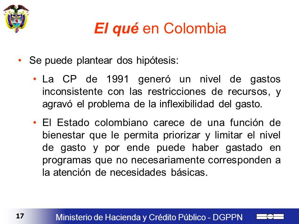 17 Ministerio de Hacienda y Crédito Público - DGPPN El qué en Colombia Se puede plantear dos hipótesis: La CP de 1991 generó un nivel de gastos incons