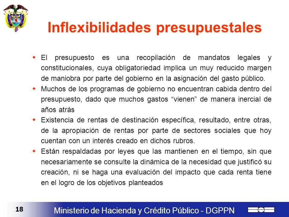 18 Ministerio de Hacienda y Crédito Público - DGPPN Inflexibilidades presupuestales El presupuesto es una recopilación de mandatos legales y constituc