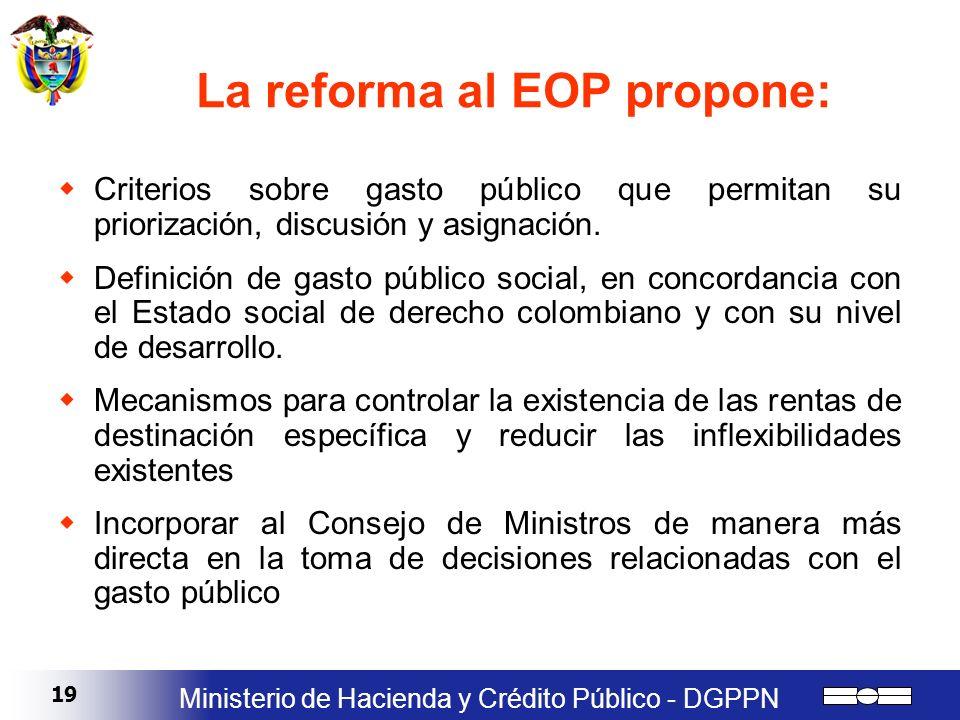 19 Ministerio de Hacienda y Crédito Público - DGPPN La reforma al EOP propone: Criterios sobre gasto público que permitan su priorización, discusión y