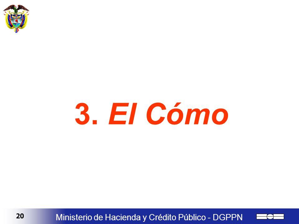 20 Ministerio de Hacienda y Crédito Público - DGPPN 3. El Cómo