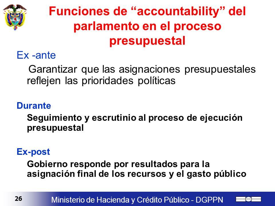 26 Ministerio de Hacienda y Crédito Público - DGPPN Funciones de accountability del parlamento en el proceso presupuestal Ex -ante Garantizar que las