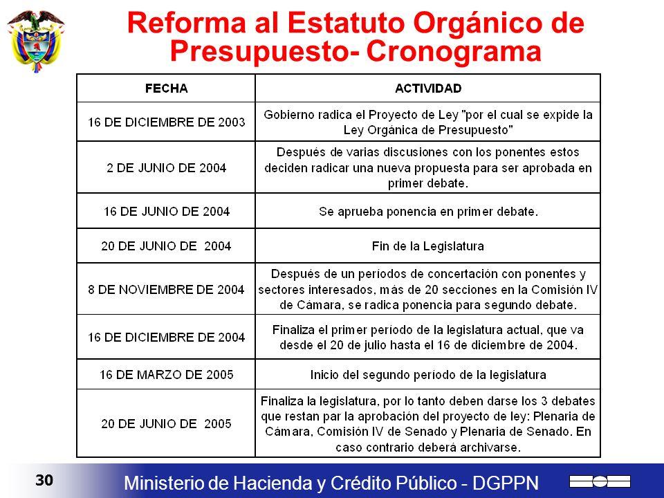 30 Ministerio de Hacienda y Crédito Público - DGPPN Reforma al Estatuto Orgánico de Presupuesto- Cronograma