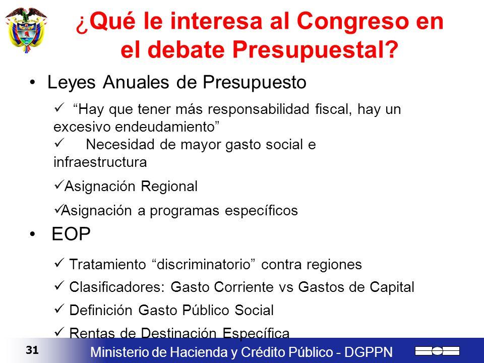 31 Ministerio de Hacienda y Crédito Público - DGPPN ¿Qué le interesa al Congreso en el debate Presupuestal? Leyes Anuales de Presupuesto Hay que tener