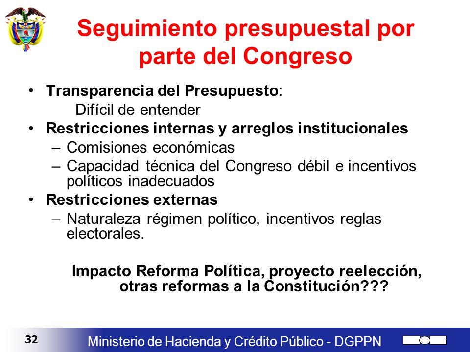 32 Ministerio de Hacienda y Crédito Público - DGPPN Seguimiento presupuestal por parte del Congreso Transparencia del Presupuesto: Difícil de entender