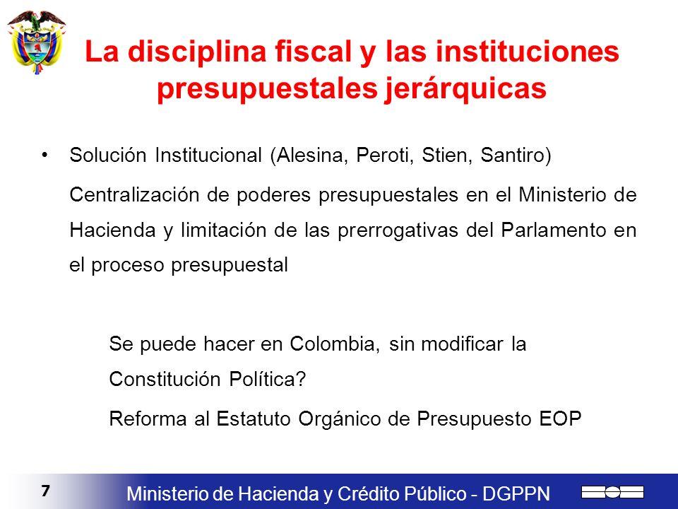 7 Ministerio de Hacienda y Crédito Público - DGPPN La disciplina fiscal y las instituciones presupuestales jerárquicas Solución Institucional (Alesina