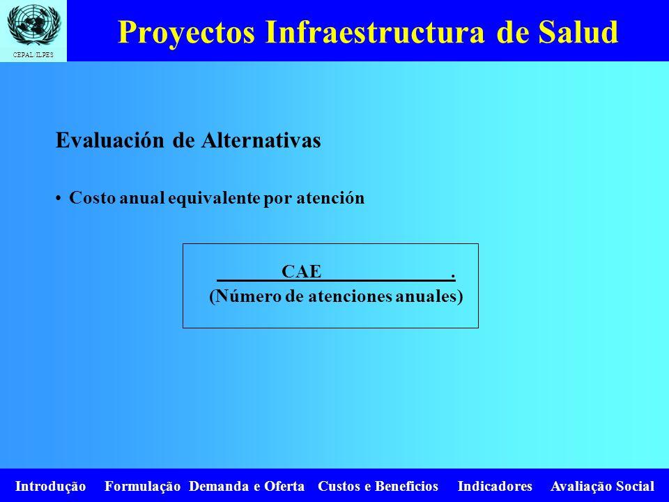 CEPAL/ILPES Introdução Formulação Demanda e Oferta Custos e Beneficios Indicadores Avaliação Social Evaluación de Alternativas Costo anual equivalente