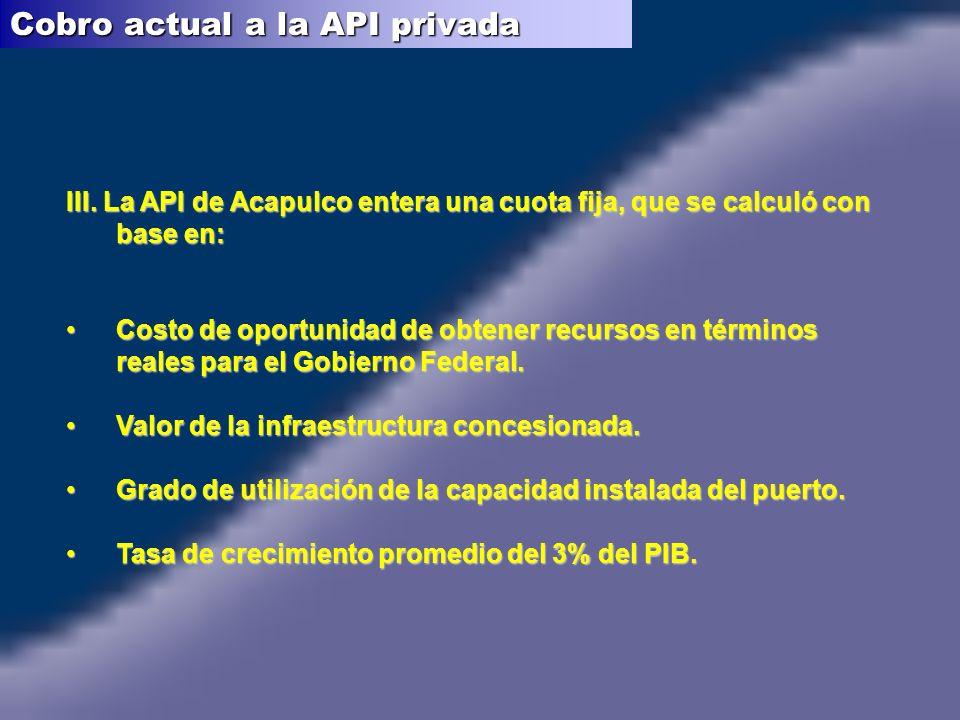 III. La API de Acapulco entera una cuota fija, que se calculó con base en: Costo de oportunidad de obtener recursos en términos reales para el Gobiern