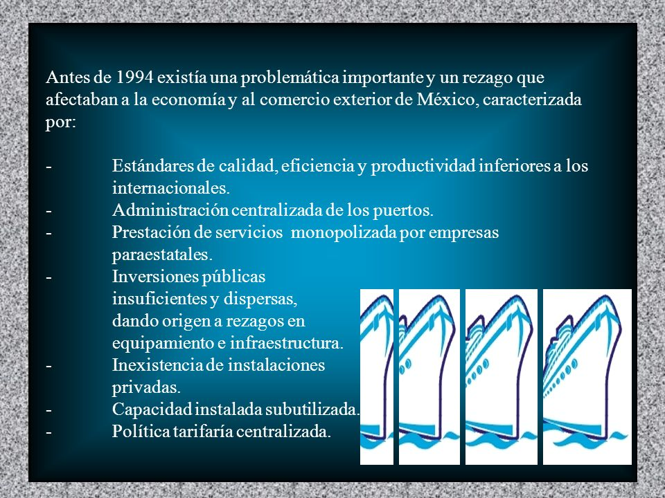 Antes de 1994 existía una problemática importante y un rezago que afectaban a la economía y al comercio exterior de México, caracterizada por: -Estándares de calidad, eficiencia y productividad inferiores a los internacionales.