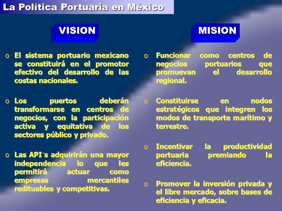 oEl sistema portuario mexicano se constituirá en el promotor efectivo del desarrollo de las costas nacionales.