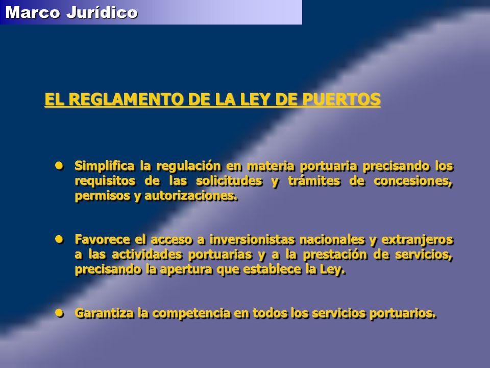 EL REGLAMENTO DE LA LEY DE PUERTOS lSimplifica la regulación en materia portuaria precisando los requisitos de las solicitudes y trámites de concesion