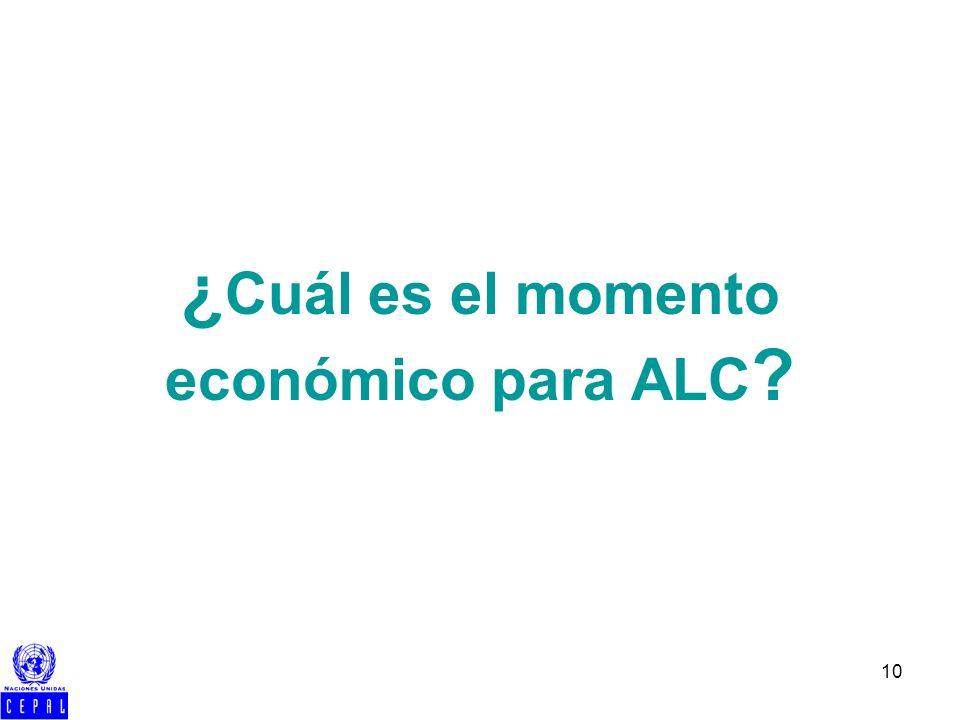 10 ¿ Cuál es el momento económico para ALC ?