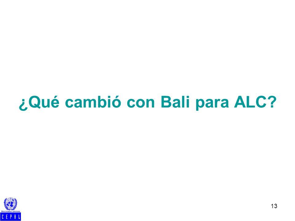 13 ¿Qué cambió con Bali para ALC?