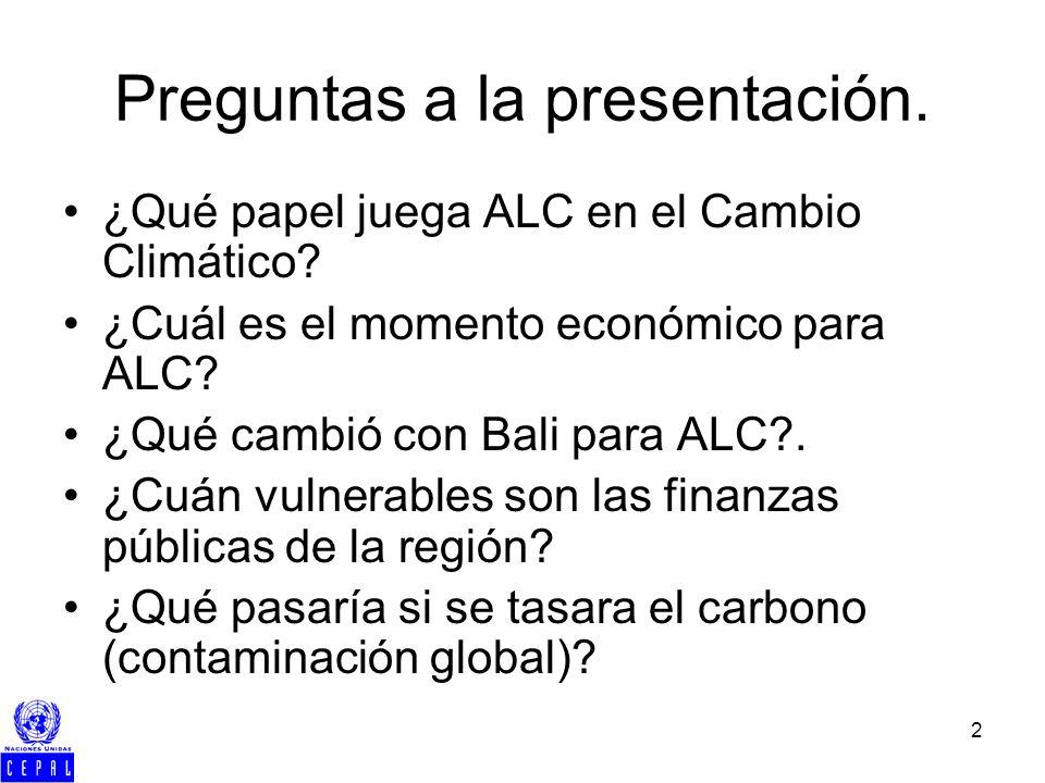 2 Preguntas a la presentación. ¿Qué papel juega ALC en el Cambio Climático? ¿Cuál es el momento económico para ALC? ¿Qué cambió con Bali para ALC?. ¿C