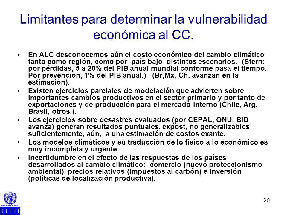 20 Limitantes para determinar la vulnerabilidad económica al CC. En ALC desconocemos aún el costo económico del cambio climático tanto como región, co