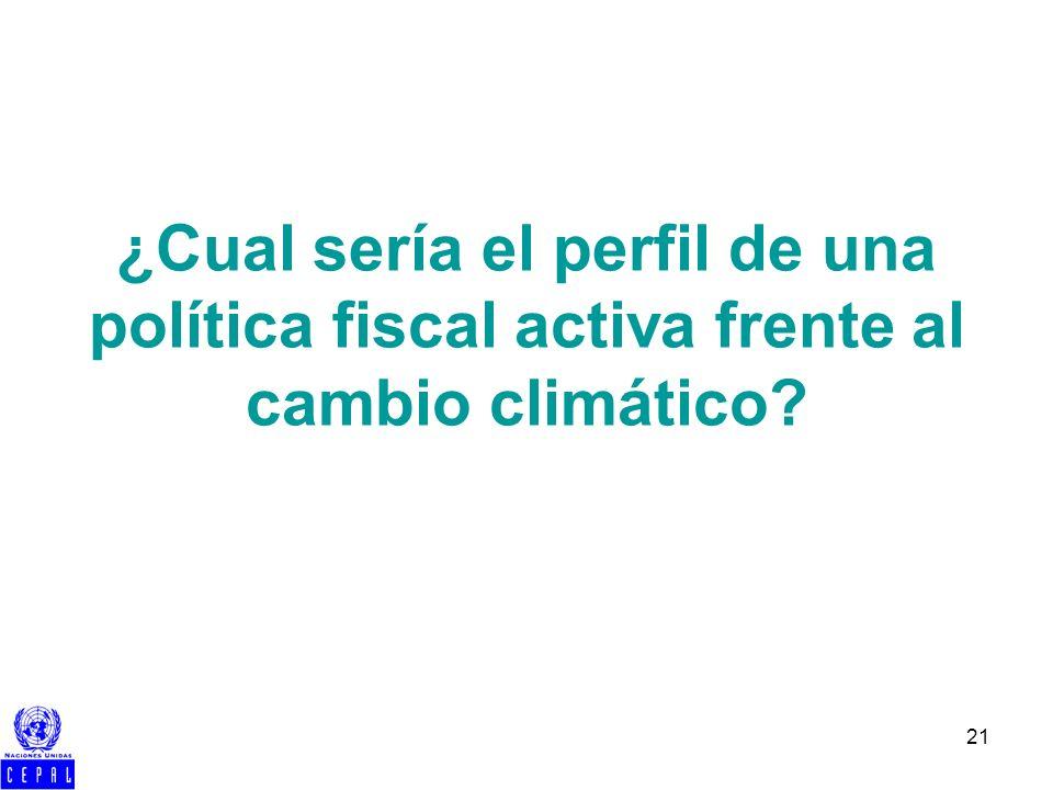 21 ¿Cual sería el perfil de una política fiscal activa frente al cambio climático