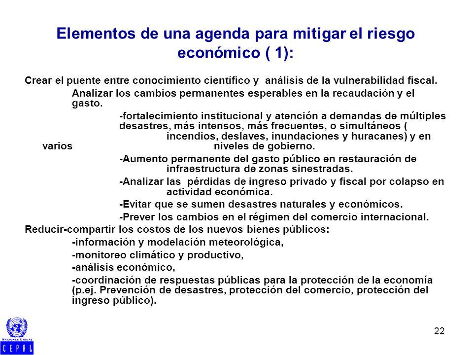 22 Crear el puente entre conocimiento científico y análisis de la vulnerabilidad fiscal. Analizar los cambios permanentes esperables en la recaudación