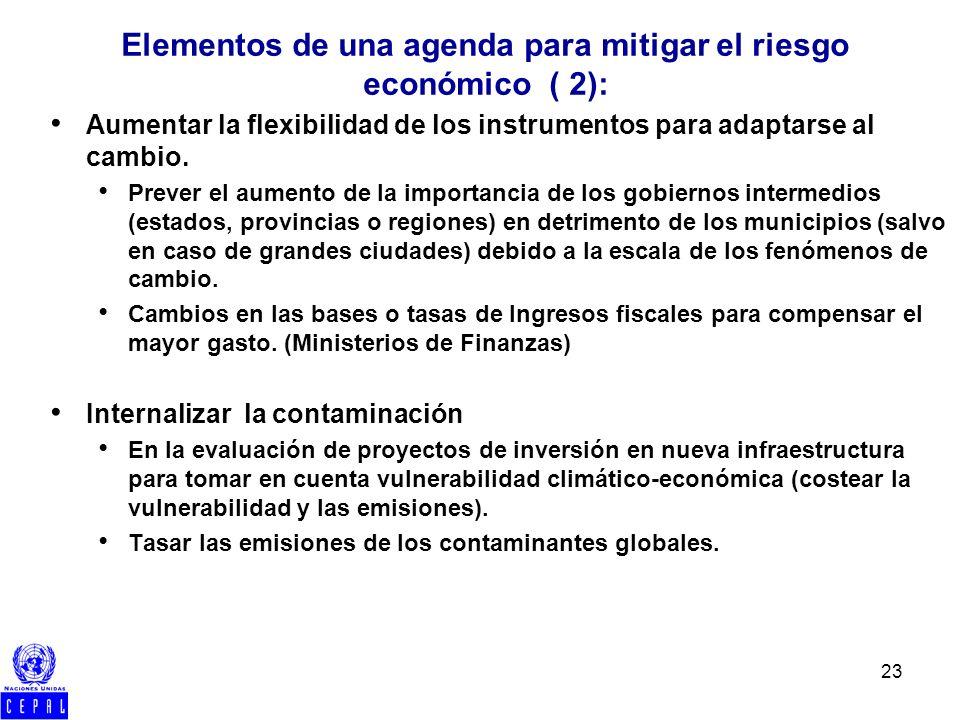 23 Aumentar la flexibilidad de los instrumentos para adaptarse al cambio. Prever el aumento de la importancia de los gobiernos intermedios (estados, p