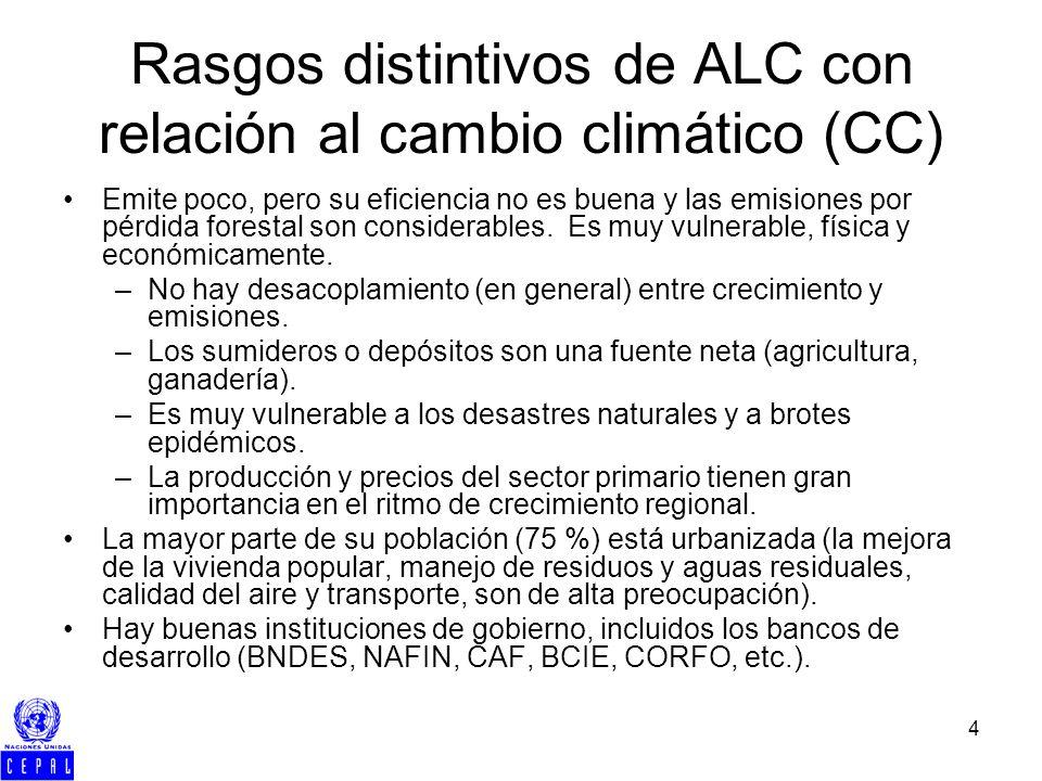 4 Rasgos distintivos de ALC con relación al cambio climático (CC) Emite poco, pero su eficiencia no es buena y las emisiones por pérdida forestal son considerables.