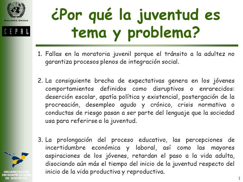 ORGANIZACIÓN IBEROAMERICANA DE JUVENTUD 1 ¿Por qué la juventud es tema y problema.