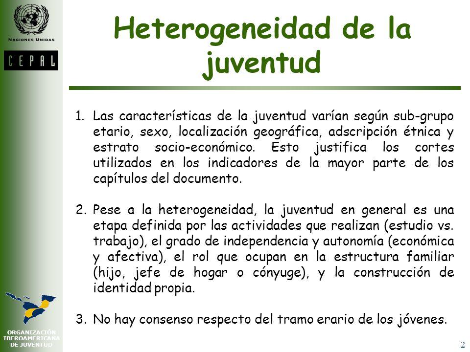 ORGANIZACIÓN IBEROAMERICANA DE JUVENTUD 2 Heterogeneidad de la juventud 1.Las características de la juventud varían según sub-grupo etario, sexo, localización geográfica, adscripción étnica y estrato socio-económico.
