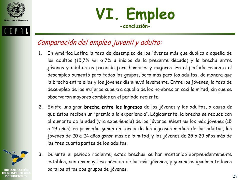 ORGANIZACIÓN IBEROAMERICANA DE JUVENTUD 26 VI. Empleo -continuación- Diferencias en el empleo por estrato socio-económico AMÉRICA LATINA (17 PAÍSES):