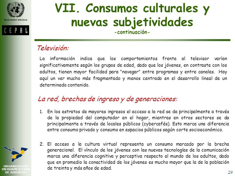 ORGANIZACIÓN IBEROAMERICANA DE JUVENTUD 28 VII. Consumos culturales y nuevas subjetividades Ver televisión, escuchar música, chatear en Internet, leer