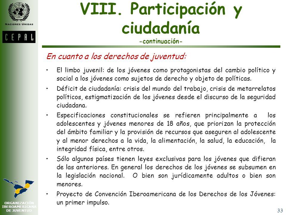 ORGANIZACIÓN IBEROAMERICANA DE JUVENTUD 32 VIII. Participación y ciudadanía Menos crédito a organizaciones tradicionales de la política, más valoració