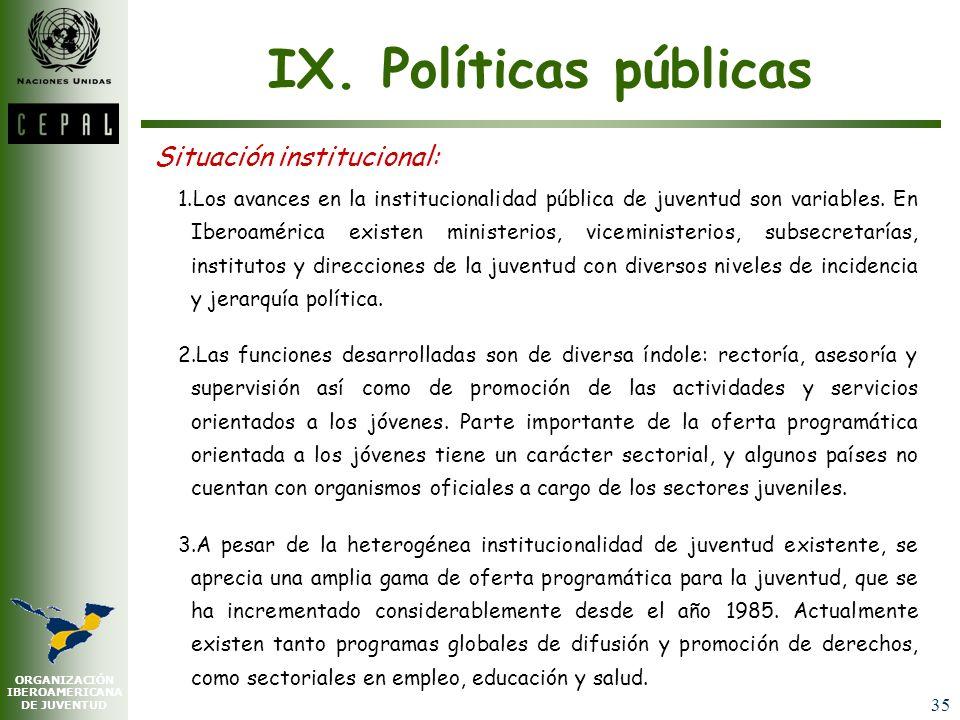 ORGANIZACIÓN IBEROAMERICANA DE JUVENTUD 34 VIII. Participación y ciudadanía -conclusión- Entre sujetos de la política y objetos de las políticas: un e