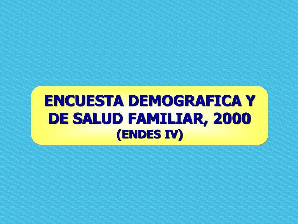 ENCUESTA DEMOGRAFICA Y DE SALUD FAMILIAR, 2000 (ENDES IV)