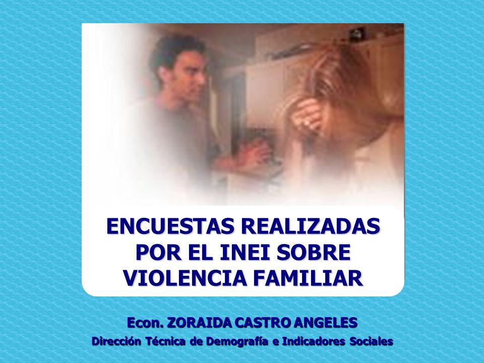 Econ. ZORAIDA CASTRO ANGELES Dirección Técnica de Demografía e Indicadores Sociales ENCUESTAS REALIZADAS POR EL INEI SOBRE VIOLENCIA FAMILIAR