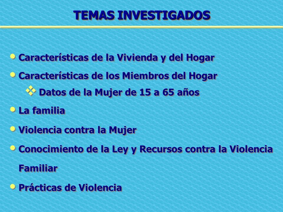 TEMAS INVESTIGADOS Características de la Vivienda y del Hogar Características de los Miembros del Hogar Datos de la Mujer de 15 a 65 años La familia V