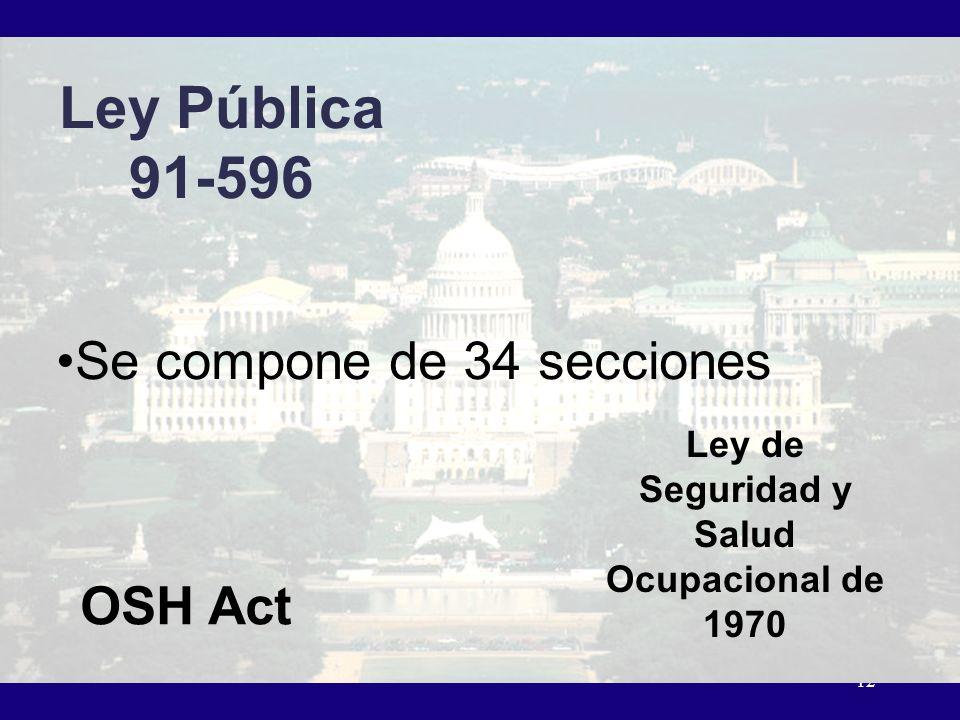 12 Ley Pública 91-596 Ley de Seguridad y Salud Ocupacional de 1970 OSH Act Se compone de 34 secciones
