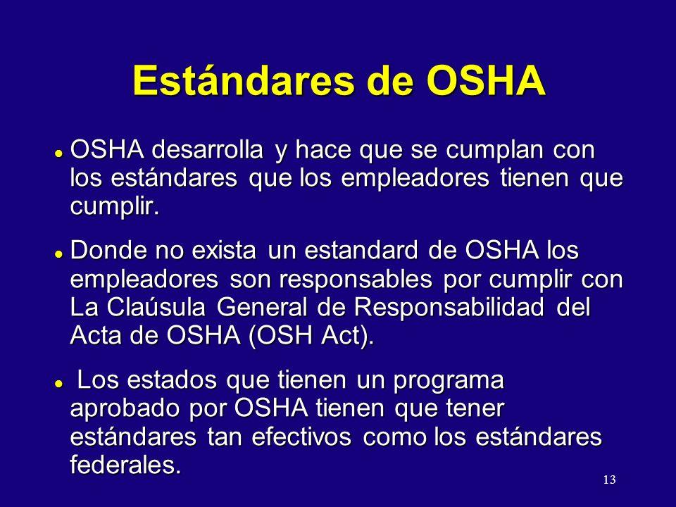 13 Estándares de OSHA l OSHA desarrolla y hace que se cumplan con los estándares que los empleadores tienen que cumplir. l Donde no exista un estandar