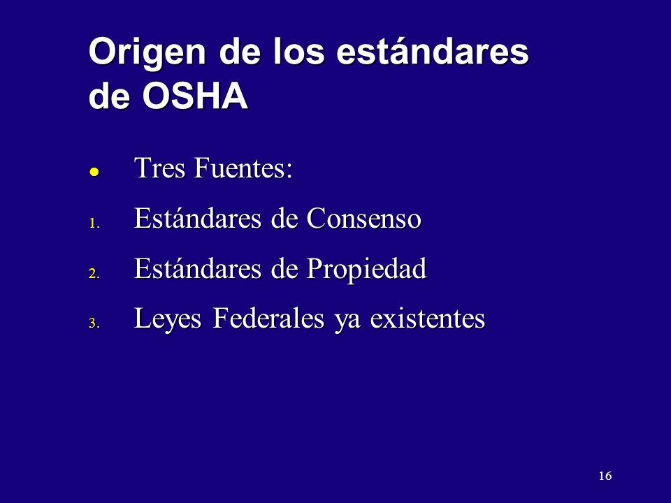 16 Origen de los estándares de OSHA l Tres Fuentes: 1. Estándares de Consenso 2. Estándares de Propiedad 3. Leyes Federales ya existentes