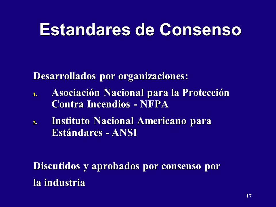 17 Estandares de Consenso Desarrollados por organizaciones: 1. Asociación Nacional para la Protección Contra Incendios - NFPA 2. Instituto Nacional Am