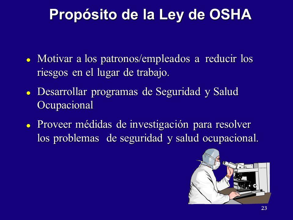 23 Propósito de la Ley de OSHA l Motivar a los patronos/empleados a reducir los riesgos en el lugar de trabajo. l Desarrollar programas de Seguridad y