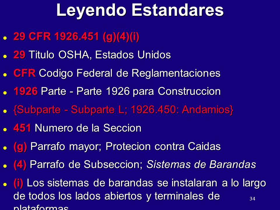 34 Leyendo Estandares l 29 CFR 1926.451 (g)(4)(i) l 29 Titulo OSHA, Estados Unidos l CFR Codigo Federal de Reglamentaciones l 1926 Parte - Parte 1926 para Construccion l {Subparte - Subparte L; 1926.450: Andamios} l 451 Numero de la Seccion l (g) Parrafo mayor; Protecion contra Caidas l (4) Parrafo de Subseccion; Sistemas de Barandas l (i) Los sistemas de barandas se instalaran a lo largo de todos los lados abiertos y terminales de plataformas.