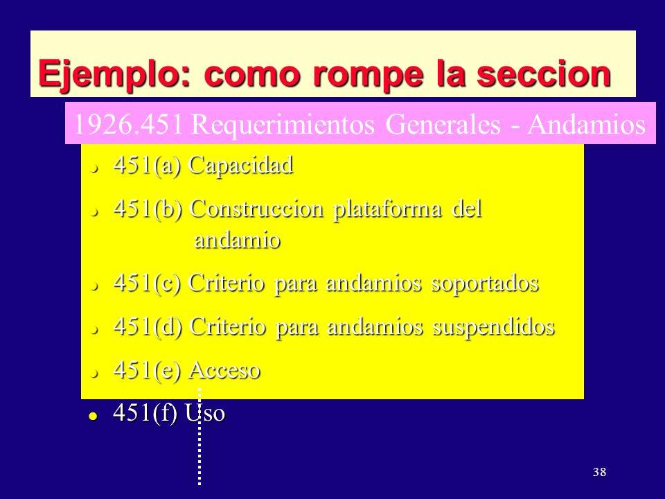 38 Ejemplo: como rompe la seccion l 451(a) Capacidad l 451(b) Construccion plataforma del andamio l 451(c) Criterio para andamios soportados l 451(d) Criterio para andamios suspendidos l 451(e) Acceso l 451(f) Uso 1926.451 Requerimientos Generales - Andamios