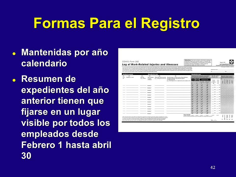42 Formas Para el Registro l Mantenidas por año calendario l Resumen de expedientes del año anterior tienen que fijarse en un lugar visible por todos los empleados desde Febrero 1 hasta abril 30
