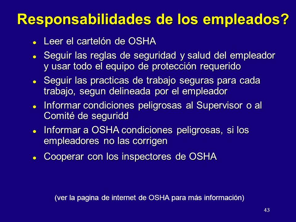 43 Responsabilidades de los empleados.