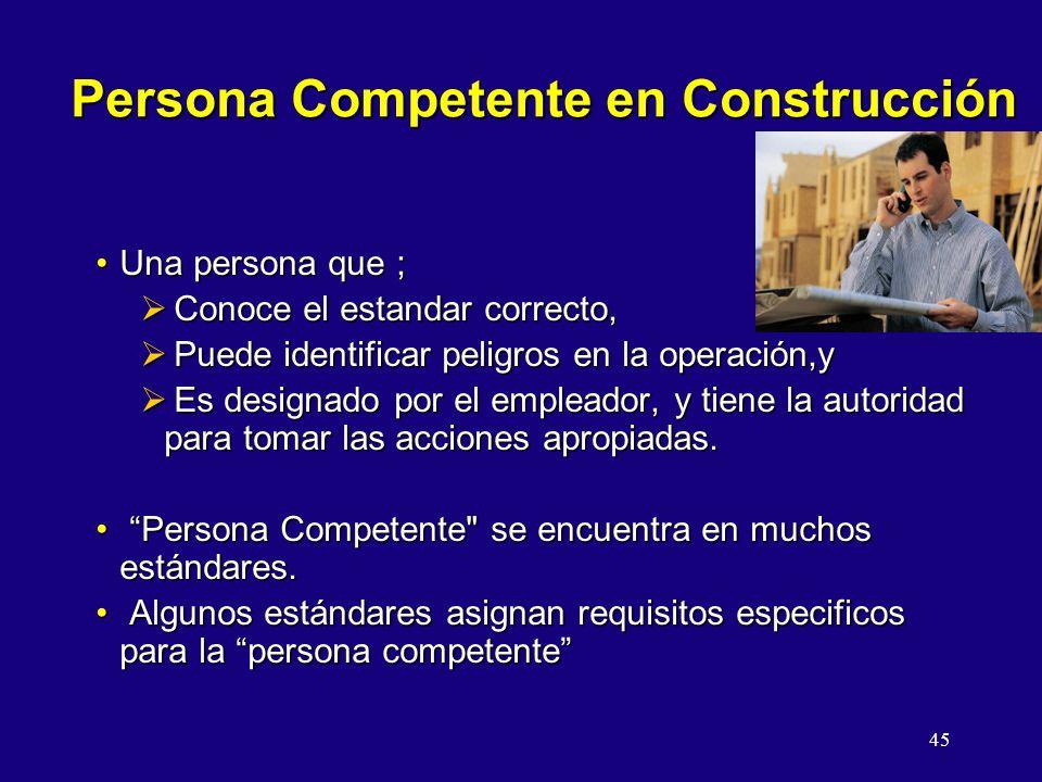 45 Persona Competente en Construcción Una persona que ;Una persona que ; Conoce el estandar correcto, Conoce el estandar correcto, Puede identificar p