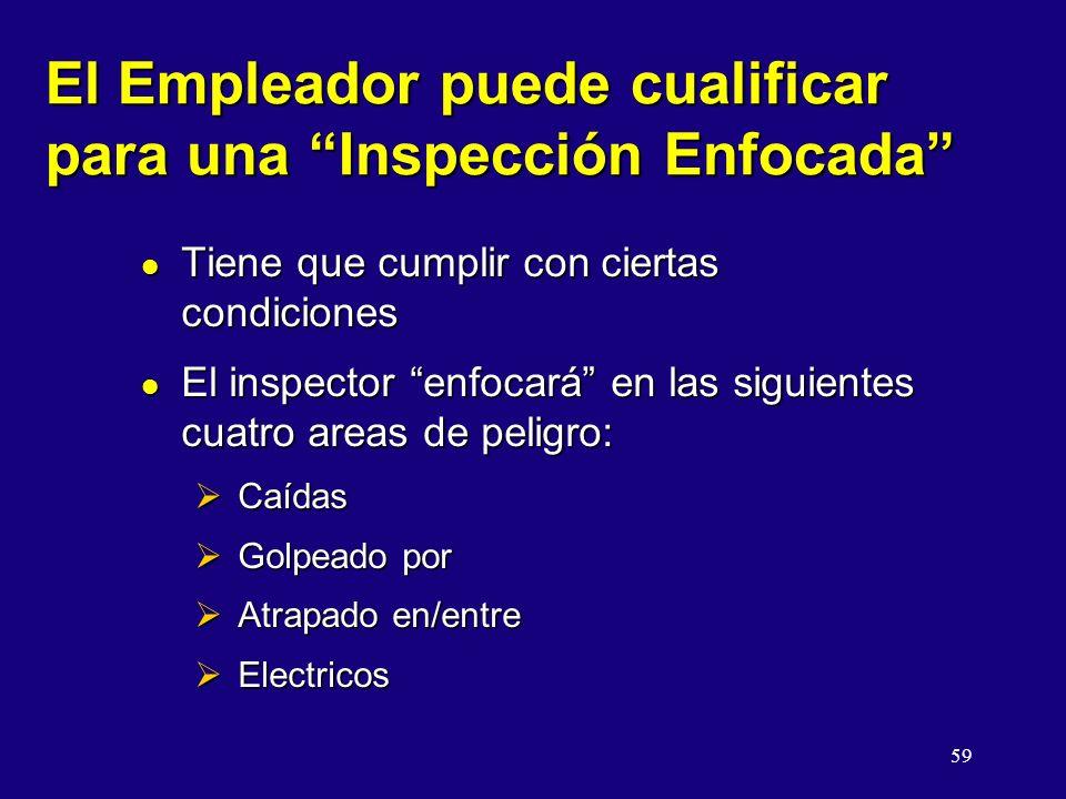 59 El Empleador puede cualificar para una Inspección Enfocada l Tiene que cumplir con ciertas condiciones l El inspector enfocará en las siguientes cuatro areas de peligro: Caídas Caídas Golpeado por Golpeado por Atrapado en/entre Atrapado en/entre Electricos Electricos