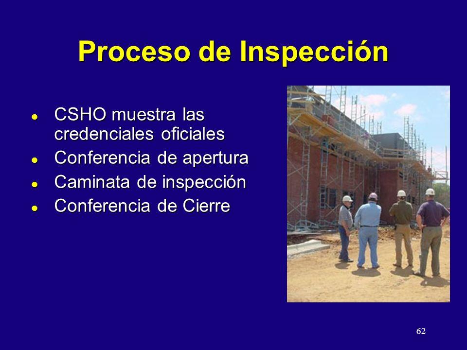 62 Proceso de Inspección l CSHO muestra las credenciales oficiales l Conferencia de apertura l Caminata de inspección l Conferencia de Cierre