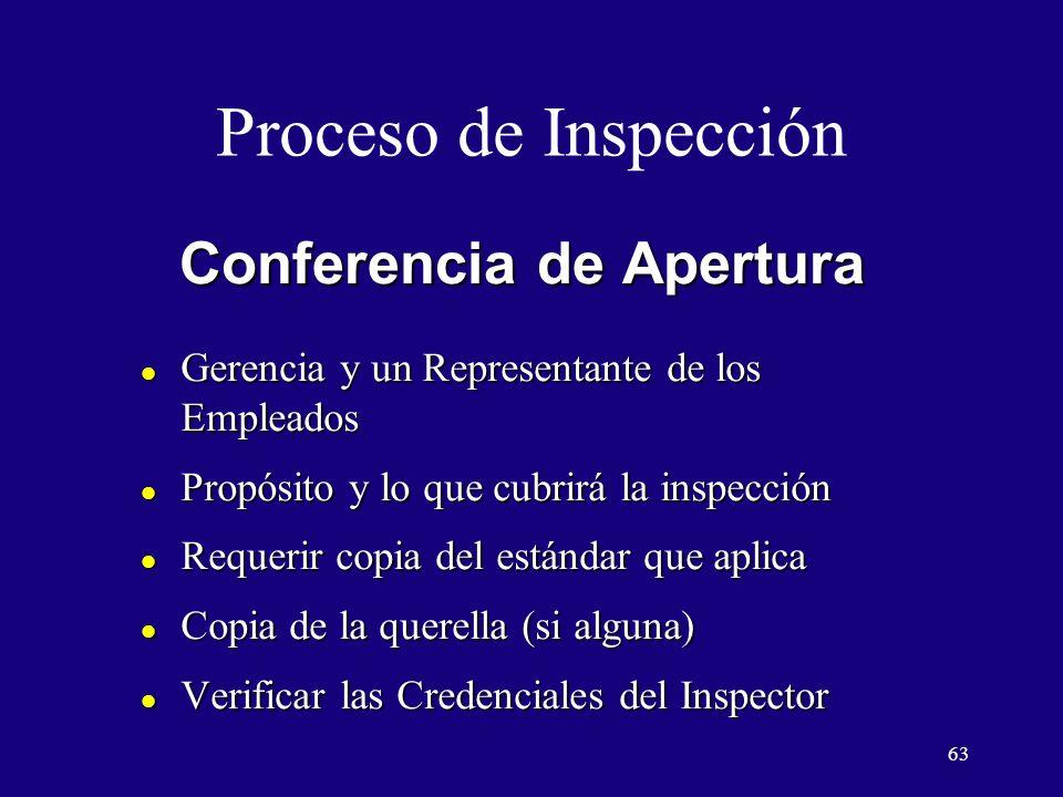 63 Conferencia de Apertura l Gerencia y un Representante de los Empleados l Propósito y lo que cubrirá la inspección l Requerir copia del estándar que aplica l Copia de la querella (si alguna) l Verificar las Credenciales del Inspector Proceso de Inspección