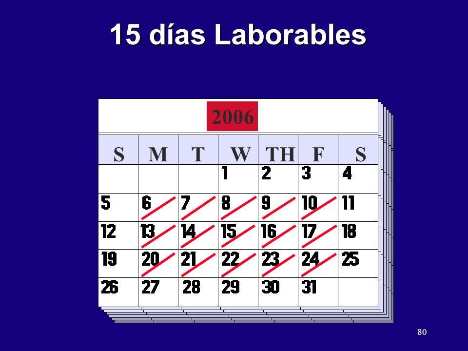 80 SMTWTHFS 15 días Laborables 2006